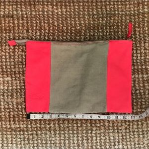 Gap Neon pink and canvas zipper pouch OS